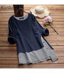 zanzea mujeres cuello redondo suéter superior tee camisa de tela escocesa check plus tamaño túnica de la blusa -azul