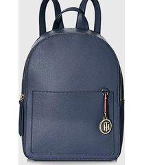 mochila int saffiano charm backpack azul tommy hilfiger