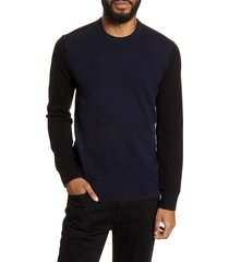 men's theory hilles standard fit crewneck cashmere sweater, size small - blue