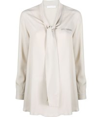 fabiana filippi bead embroidered tie neck blouse - neutrals