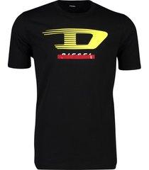 diesel t-shirt zwart logo opdruk ronde hals katoen