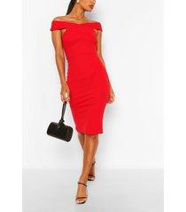 off shoulder bodycon midi dress, red