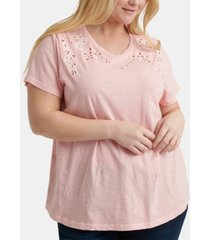 lucky brand plus size cotton eyelet top
