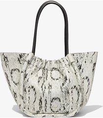 proenza schouler large snake embossed tote optic white/black one size