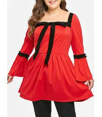 plus size bowknot flare sleeves contrast longline tee