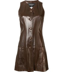 chanel pre-owned cc logos sleeveless one-piece dress - brown
