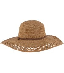 scala crochet raffia big brim hat with chin cord