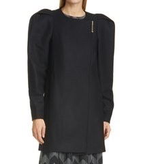 women's ted baker london zylaa puff shoulder wool & cashmere blend coat, size 4 - black
