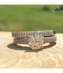 10k white gold over pure 925 sterling silver diamond engagement bridal ring set