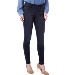 petite women's liverpool gia glider pull-on skinny jeans, size 4p - black