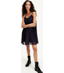 tommy hilfiger women's icon pleated slip dress black watch/ check deep rouge - 14