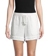 raw edge drawstring shorts
