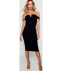 bardot midi bodycon dress, black