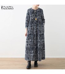 zanzea manga larga para mujer floral de la túnica vestido casual de las señoras tamaño holgada vacaciones vestidos plus -azul marino