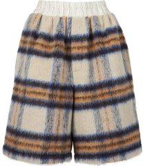 check print wool blend shorts beige