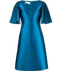 alberta ferretti embellished flutter sleeve dress - blue