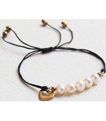 naturalne perły & serduszko : bransoletka