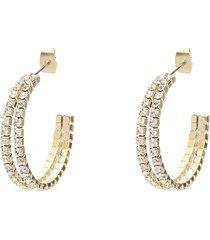 orecchini a cerchio in metallo dorato con strass per donna