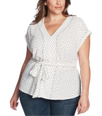1.state trendy plus size contrast-stitch dot-print top