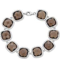 smoky quartz link bracelet (40 ct. t.w.) in sterling silver