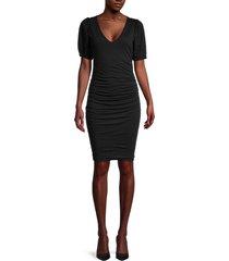 velvet women's puffed-sleeve ruched dress - black - size xs