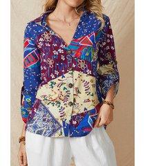 camicetta etnica con bottoni a maniche lunghe con scollo a v stampa vintage per donna