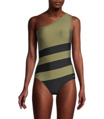 dkny women's colorblocked one-shoulder one-piece swimsuit - black - size 12