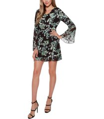 belldini black label floral v-neck pleated dress