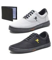 tênis sapatenis sapato conforto polo joy kit 2 pares e carteira amarelo/cinza