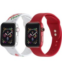 men's and women's naughty or nice red 2 piece silicone band for apple watch 38mm