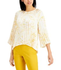 alfani pleated floral-print top, created for macy's