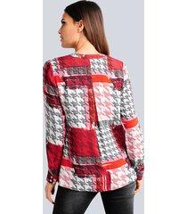 blus alba moda röd::vit::svart