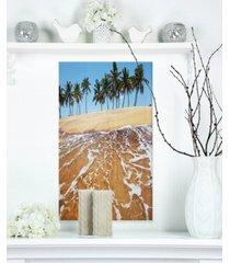 "designart 'tropical beach with crystal waters' large seashore metal wall art - 12"" x 20"""