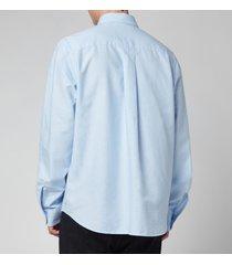 kenzo men's tiger crest oxford button down shirt - light blue - 42/17
