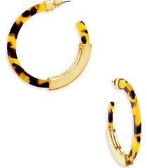 14k goldplated & faux tortoiseshell hoop earrings
