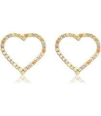 brinco coração colorido zircônias 18k lys lazuli feminino - feminino