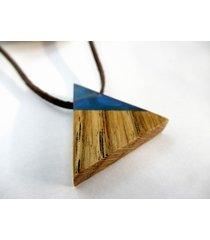 drewniany wisiorek trójkąt dąb+niebieski
