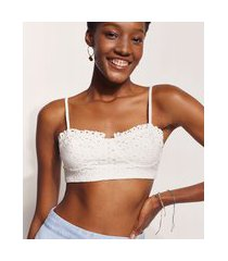 top cropped de laise feminino hype beachwear alça fina decote princesa off white