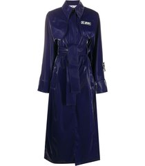 off-white long belted trench coat - blue