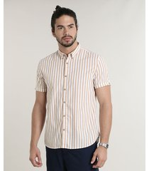camisa masculina comfort fit listrada manga curta caramelo
