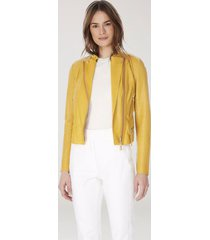 jaqueta de couro motor cobra espanha amarelo mel
