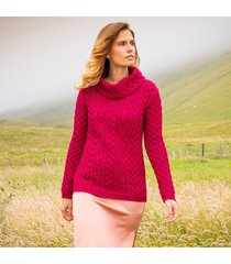 the doonbeg fuchsia aran sweater xs