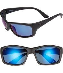 costa del mar jose 60mm polarized sunglasses in blackout/blue mirror at nordstrom