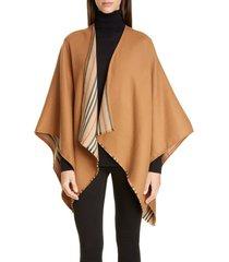 women's burberry icon stripe reversible wool cape