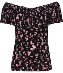 camiseta cuello bandeja flores color negro, talla 10