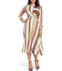 women's chaus island stripe twist front midi dress