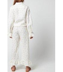 sleeper women's rumba linen lounge suit daisies - white & yellow - l