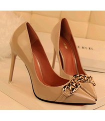 pp330 amazing candy color pump w gold chain front  us size 4-8.5, nude