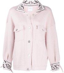 barrie oversized cashmere bandana jacket - pink