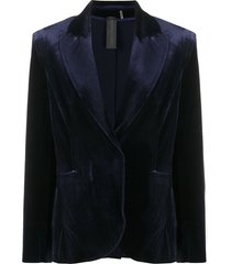 norma kamali single-breasted velvet blazer - blue